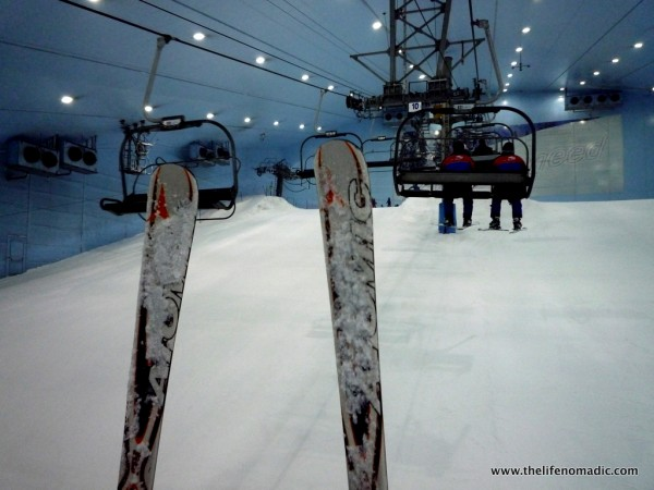 On the lift at Ski Dubai.