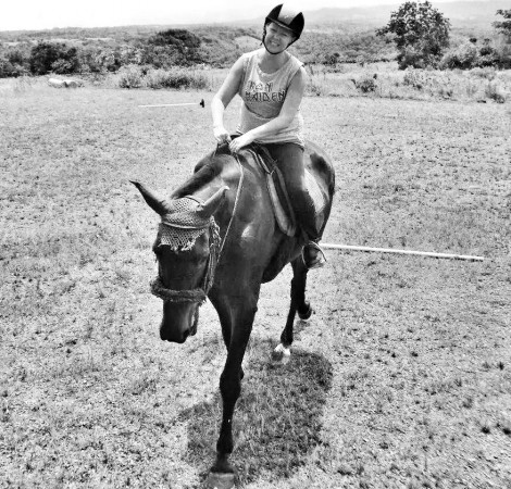 Today in Boquete, Panama. This is Big Girl, a talented Hanoverian mare and my new best friend.