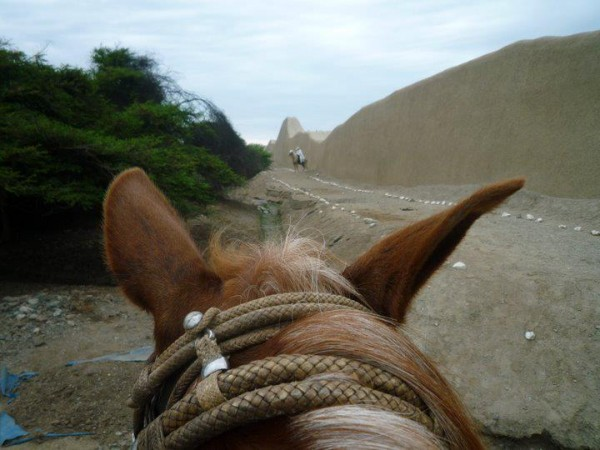Riding through the ancient Moche ruins of Chan Chan in Trujillo, Peru.